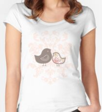 Sweet Pink Damask Mommy and Baby Chicks Women's Fitted Scoop T-Shirt