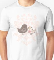 Sweet Pink Damask Mommy and Baby Chicks T-Shirt