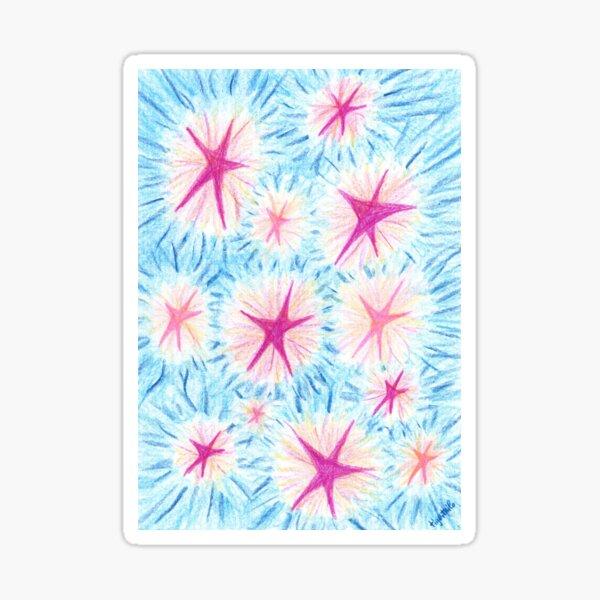 2205 - Rosa-rote und Pinke Sterne vor bläulichem Himmel Sticker