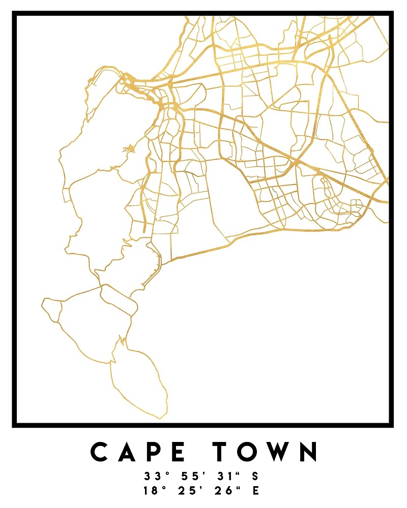 CAPE TOWN SOUTH AFRICA CITY STREET MAP ART by deificusArt