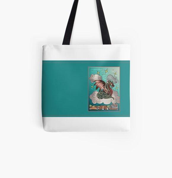 Dazzling Dragon Border All Over Print Tote Bag