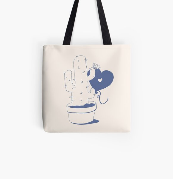 Cactus and Balloon Blue Purple All Over Print Tote Bag