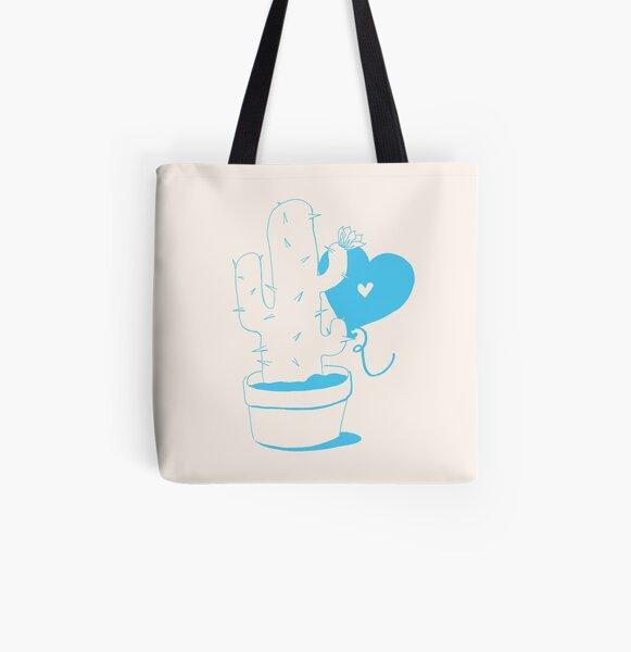 Cactus and Balloon LightBlue All Over Print Tote Bag