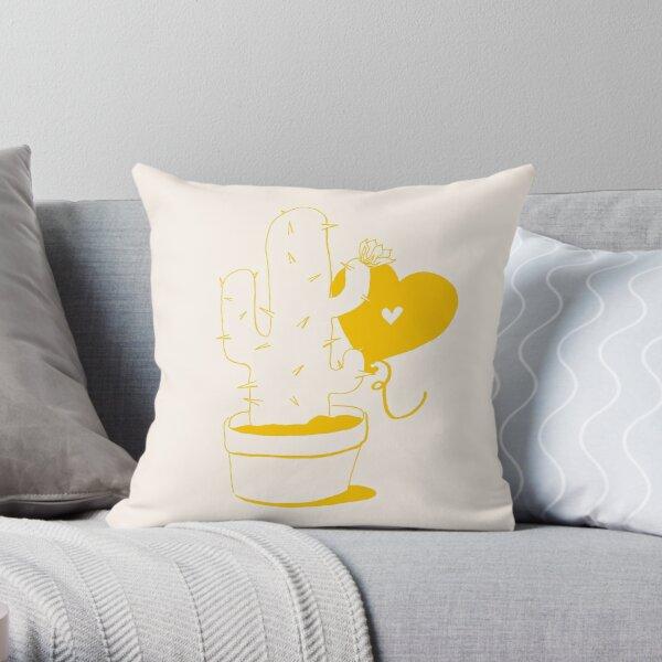 Cactus and Balloon Yellow Throw Pillow