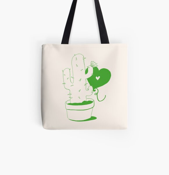 Cactus and Balloon All Over Print Tote Bag
