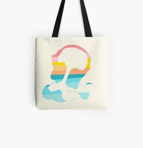 Headphones in sunset rainbow colors All Over Print Tote Bag