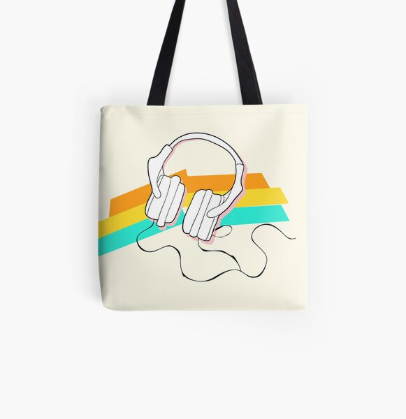 Headphones and rainbow colors All Over Print Tote Bag