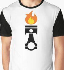 Flaming Piston (fire black) Graphic T-Shirt