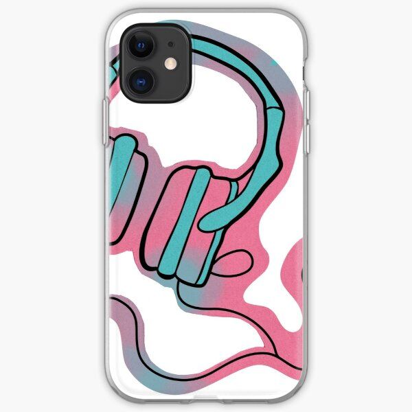 Headphones in Pink and Green iPhone Soft Case