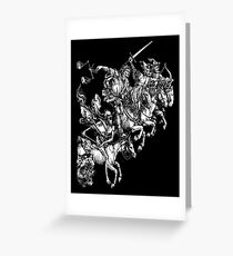 Apocalypse, Durer, Four Horsemen of the Apocalypse, Revenge, Biblical, Prophesy, White on Black Greeting Card
