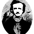 Poe with Ravens and Heart, rounded style by ARTmuffin