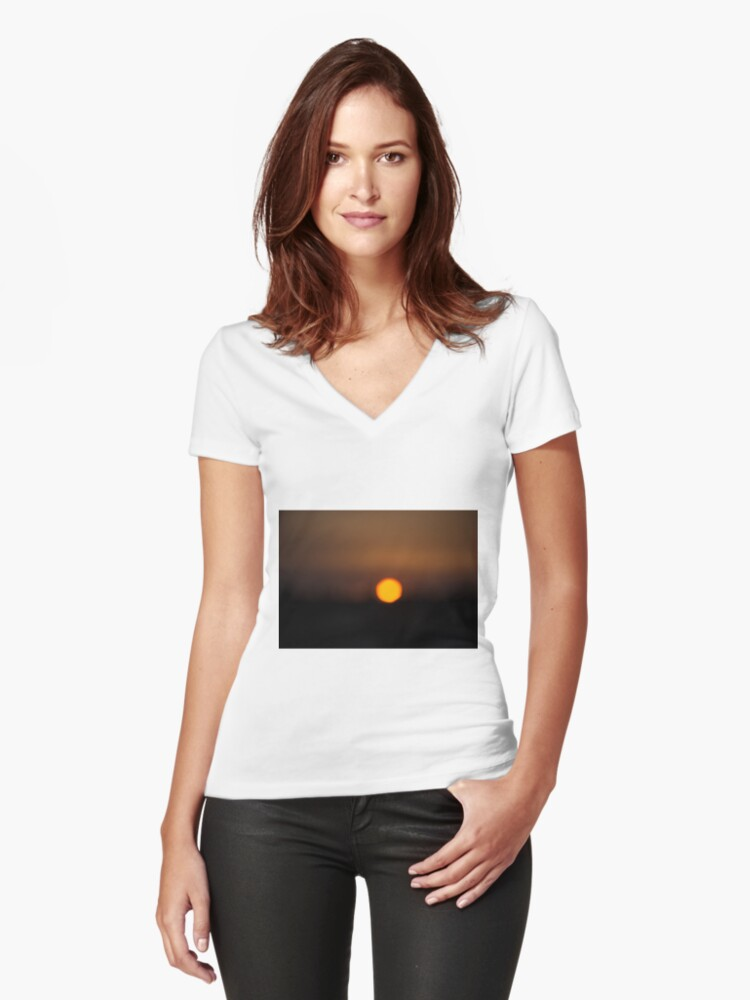 Sunset Portugal Women's Fitted V-Neck T-Shirt Front