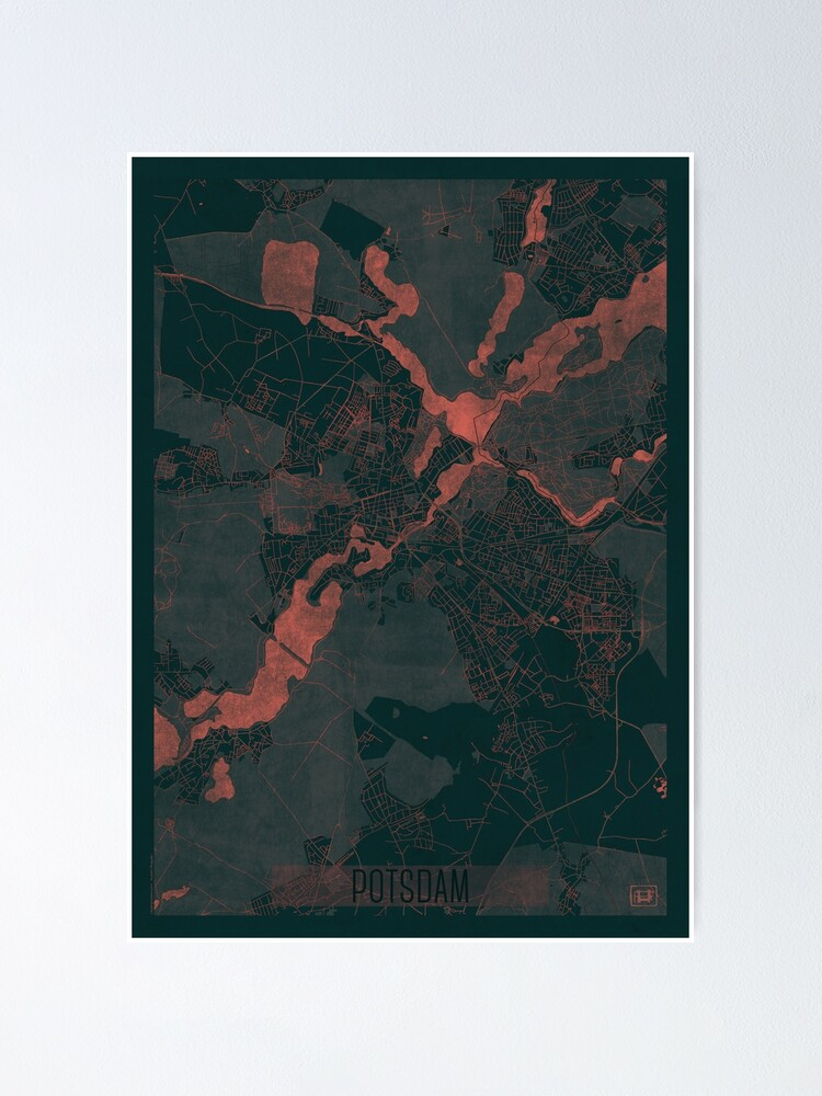 Alternate view of Potsdam Map Red Poster