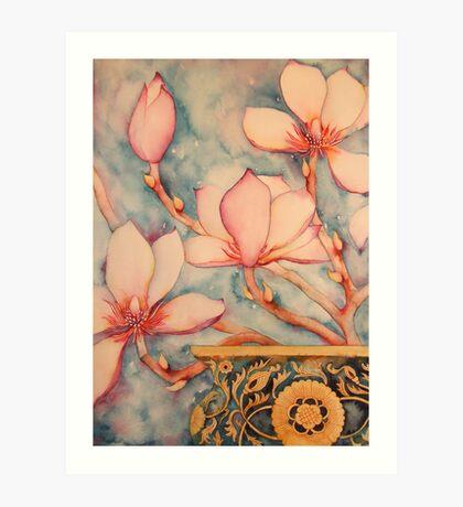 Magnolia In Vintage Vase II 'Still Life' © Patricia Vannucci 2008 Art Print