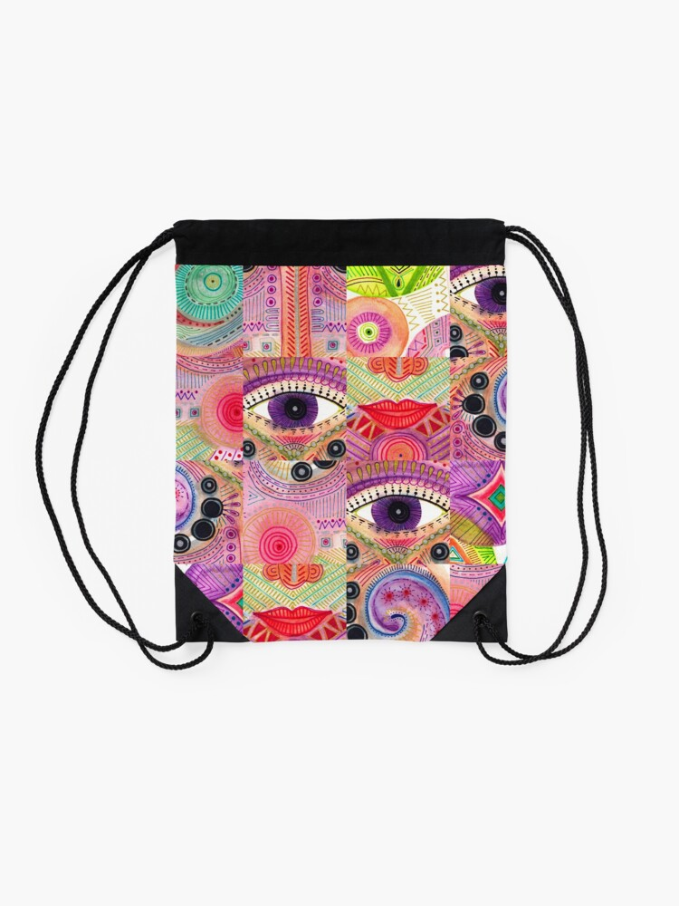 Alternate view of colorful words of a poem Drawstring Bag