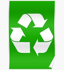 White Recycling Symbol  Poster