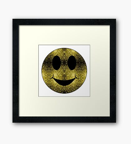 Sparkly Smiley Yellow Gold sparkles Framed Print