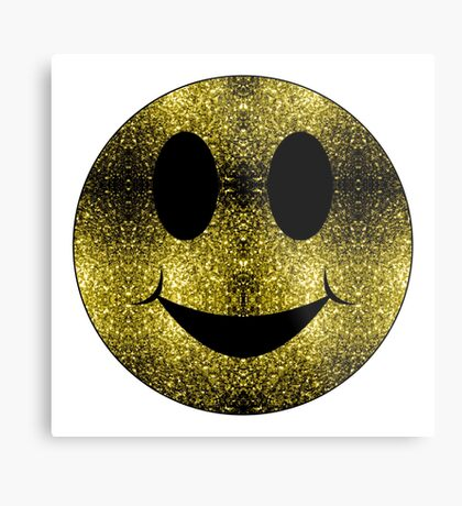 Sparkly Smiley Yellow Gold sparkles Metal Print