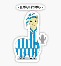Humorous Cute Llama in Pyjamas Graphic Illustration Sticker