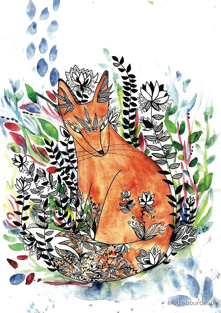 Bohemian Tatoo fox with nature, wildlife and hippie by elodiebourdeau