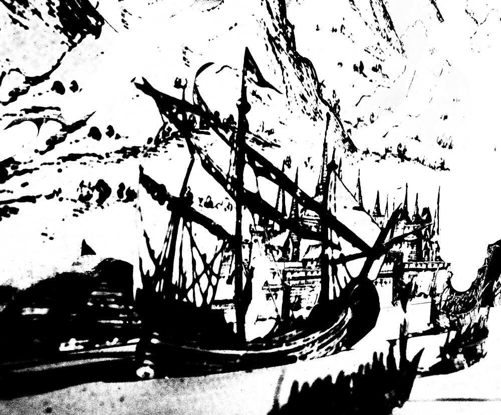 Abstract Pirate Ship Painting In Black And White by Korryna Benneth
