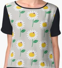 Whimsical Summer White Daisy and Red Ladybug Women's Chiffon Top