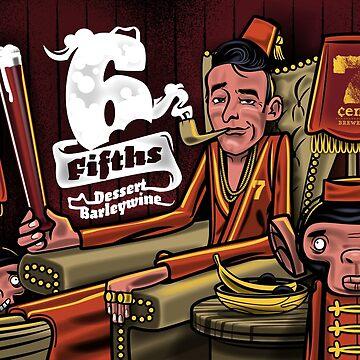'6 fifths' Dessert Barleywine illustration by 7centBrewery
