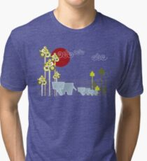 Elephant Family In The Forest Tri-blend T-Shirt