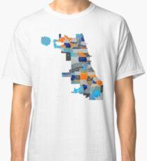 Chicago Map - Blue & Orange Classic T-Shirt
