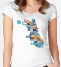 Chicago Map - Blue & Orange Women's Fitted Scoop T-Shirt