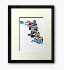 Chicago Map - Blue & Orange Framed Print