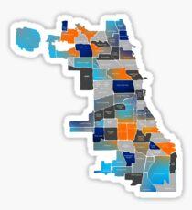 Chicago Map - Blue & Orange Sticker