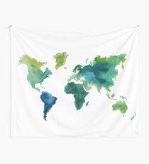 Watercolor Worldmap Wall Tapestry