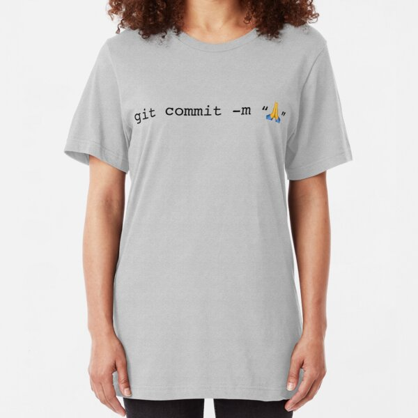 git commit prayer hands emoji Slim Fit T-Shirt
