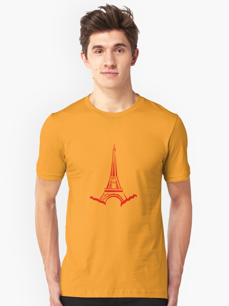 Red Eiffel Tower Unisex T-Shirt Front