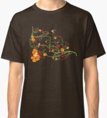 Yellow Hibiscus Swirls and Swallows Classic T-Shirt