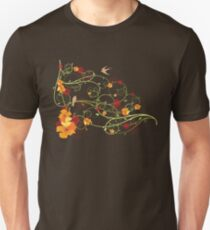Yellow Hibiscus Swirls and Swallows Unisex T-Shirt