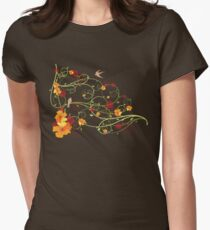 Yellow Hibiscus Swirls and Swallows T-Shirt