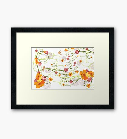 Yellow Hibiscus Swirls and Swallows Framed Print