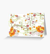 Yellow Hibiscus Swirls and Swallows Greeting Card