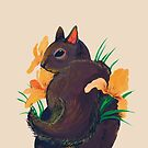Purple Squirrel with Irises by scatterbee