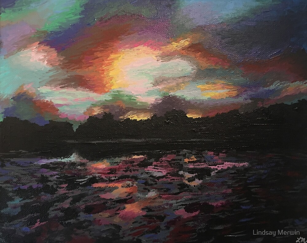 Sunset Over the Lake by Lindsay Merwin