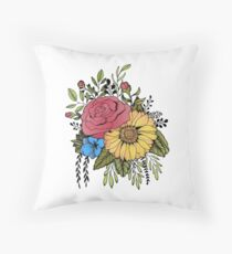 SUNFLOWER & ROSE Throw Pillow