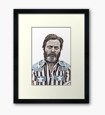 Ron Swanson (Nick Offerman) - An American Hero Framed Print