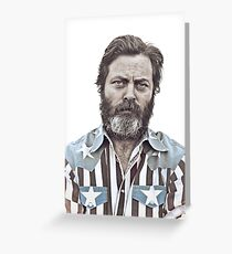 Ron Swanson (Nick Offerman) - An American Hero Greeting Card
