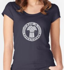 Made in Saskatchewan Grunge Light Logo Women's Fitted Scoop T-Shirt