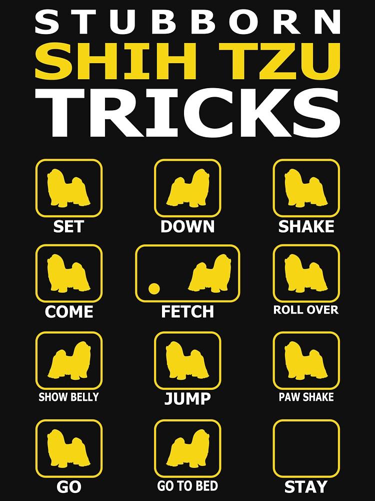 Stubborn Shih Tzu Dog Tricks Funny Tshirt by simbamerch
