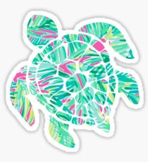 Tropical Leaf Turtle Sticker