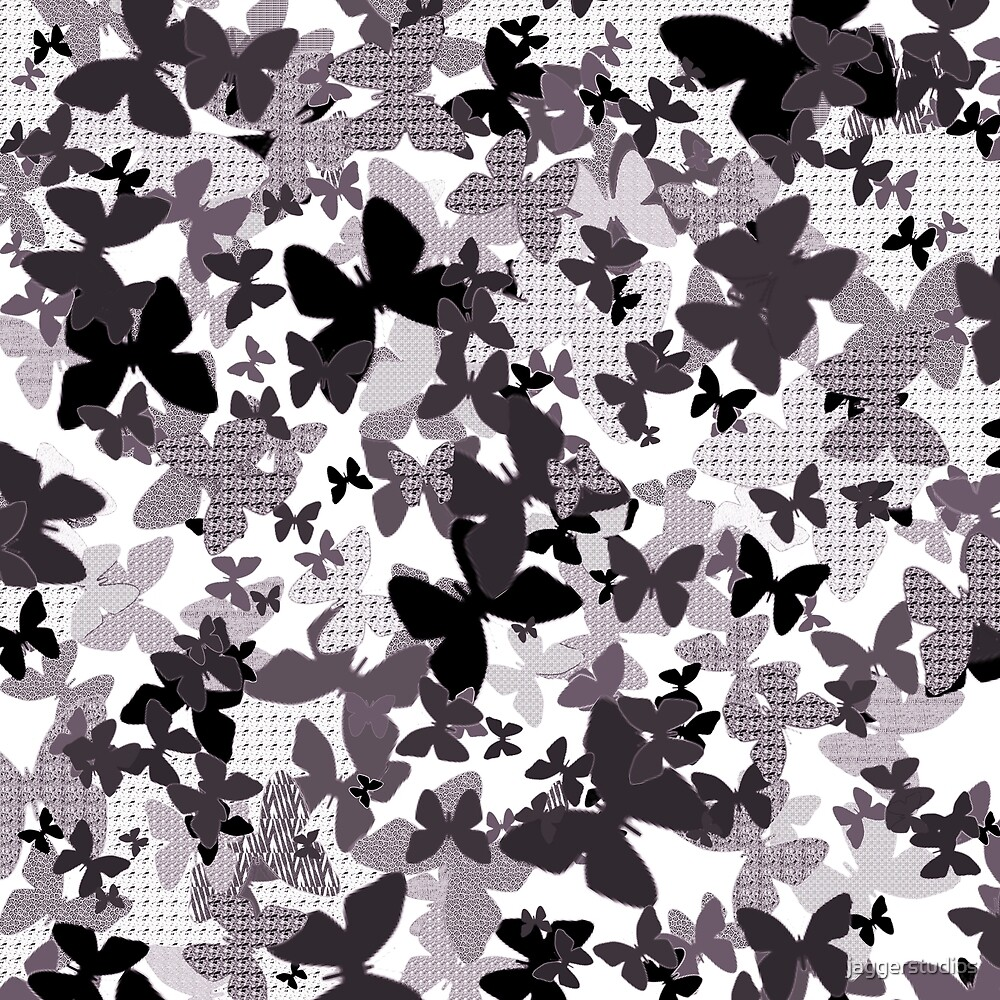 Monochrome Butterfly Pattern Mix Up by jaggerstudios