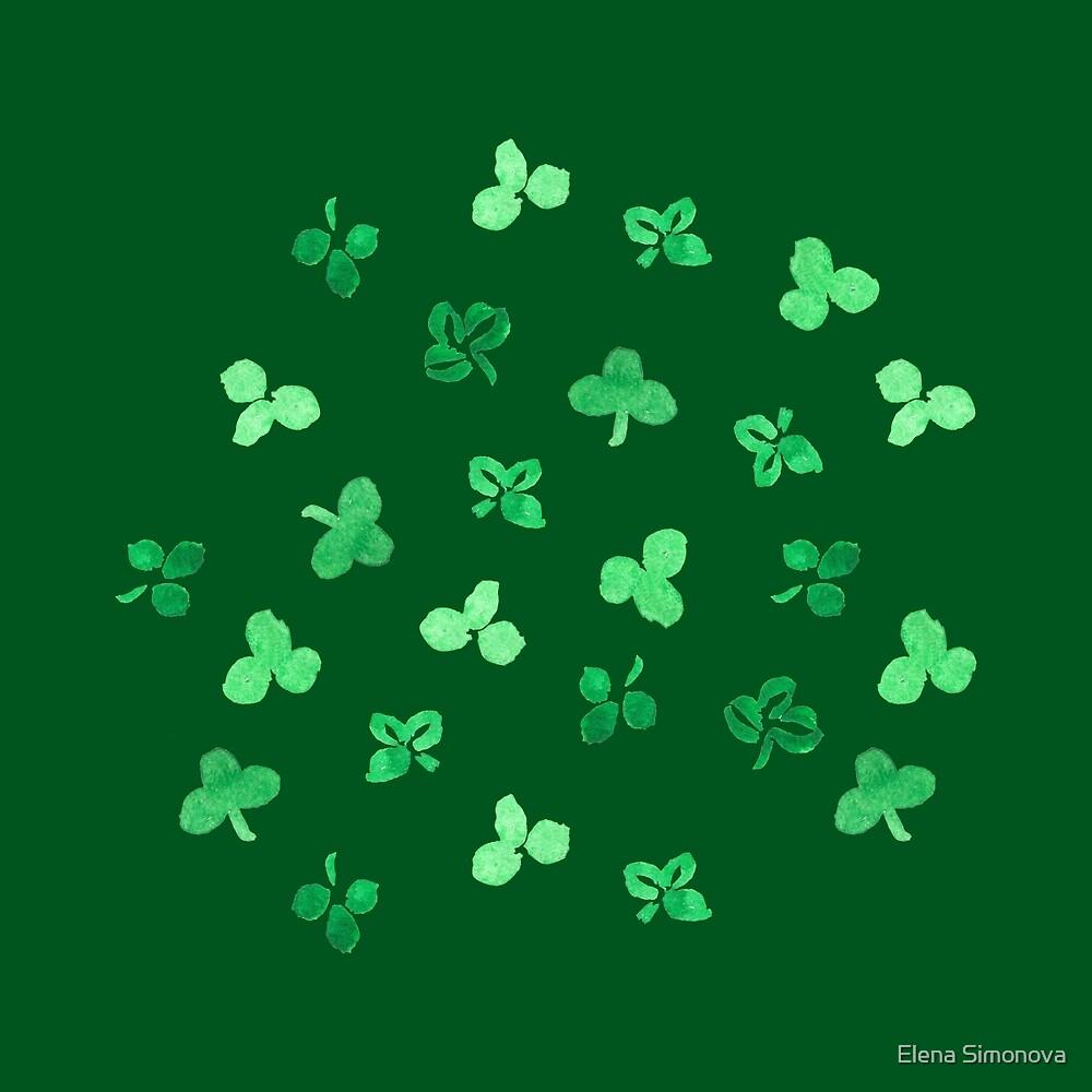 Clover Leaves on Green by Elena Simonova
